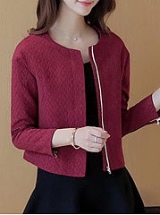 Collarless Pocket Zips Embossed Plain Jacket