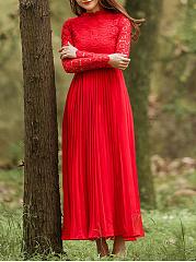 Collarless-Patchwork-Lace-Plain-Evening-Dresses