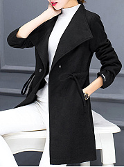 Lapel Drawstring Pocket Plain Longline Coat