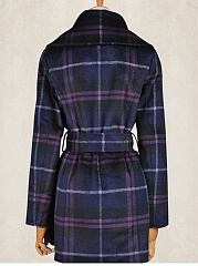 Lapel Pocket Belt Plaid Woolen Coat