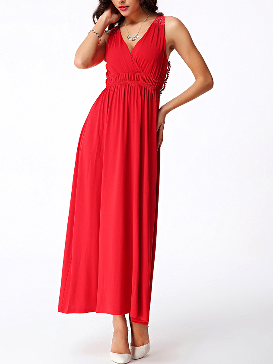 Deep V-Neck Plain Hollow Out Empire Maxi Dress