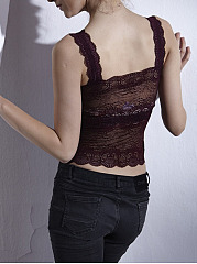 Comfortable Bra Padded Elastic Lace Bra Short Camisole