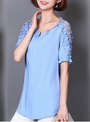 Spring Summer  Linen  Women  V-Neck  Decorative Lace  Plain  Short Sleeve Blouses