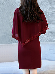 Cape Sleeve Sequin Plain Bodycon Dress