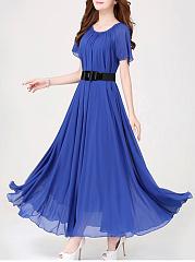 Round-Neck-Belt-Plain-Chiffon-Maxi-Dress