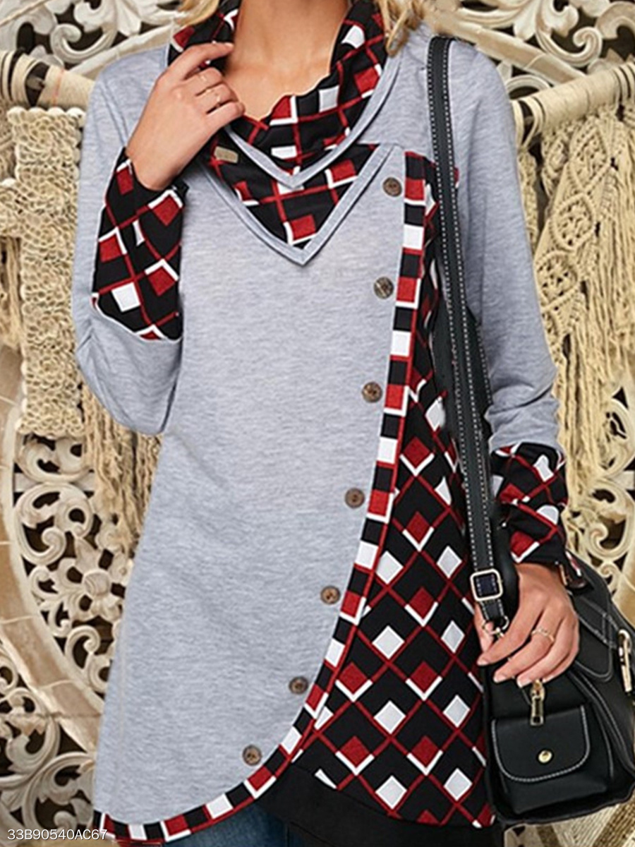 Cowl Neck  Loose Fitting Patchwork  Checkered Long Sleeve T-Shirts