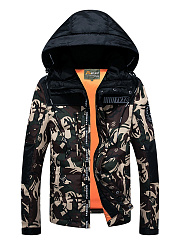 Hooded Camouflage Letters Pocket Men Coat