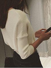 Round Neck  Plain Striped  Batwing Sleeve  Long Sleeve Sweaters Pullover