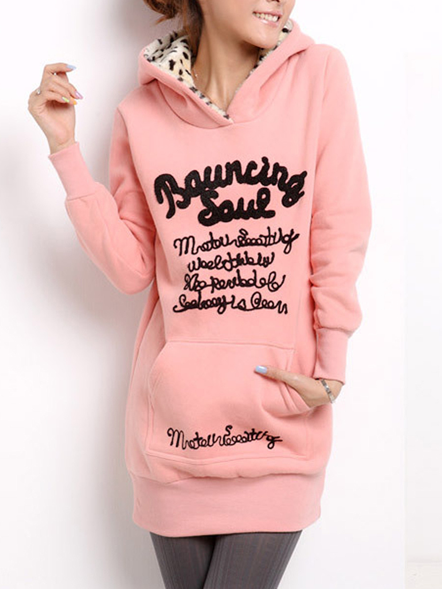 Longline Kangaroo Pocket Letters Fleece Lined Hoodie