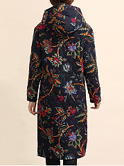 Hooded Patch Pocket Quilted Tribal Printed Long Coat