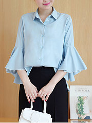 Spring Summer  Polyester  Women  Turn Down Collar  Single Breasted  Plain  Bell Sleeve  Three-Quarter Sleeve Blouses