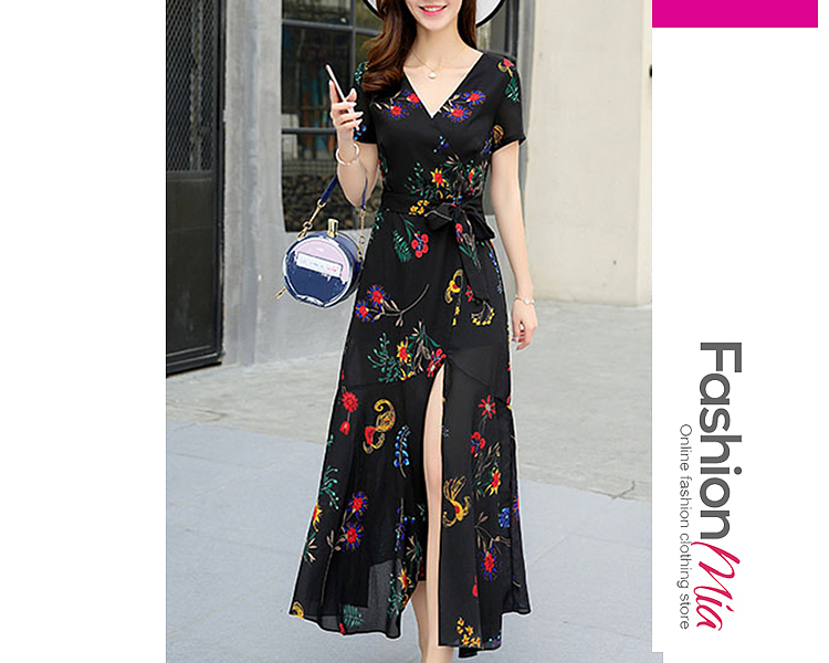 style:fashion, material:polyester, collar&neckline:surplice, sleeve:short sleeve, more_details:belt, pattern_type:printed, length:ankle-length, how_to_wash:cold gentle machine wash, supplementary_matters:all dimensions are measured manually with a deviation of 2 to 4cm., occasion:date, season:spring,summer, dress_silhouette:empire line, package_included:belt*1,dress*1, lengthsleeve lengthbustwaist
