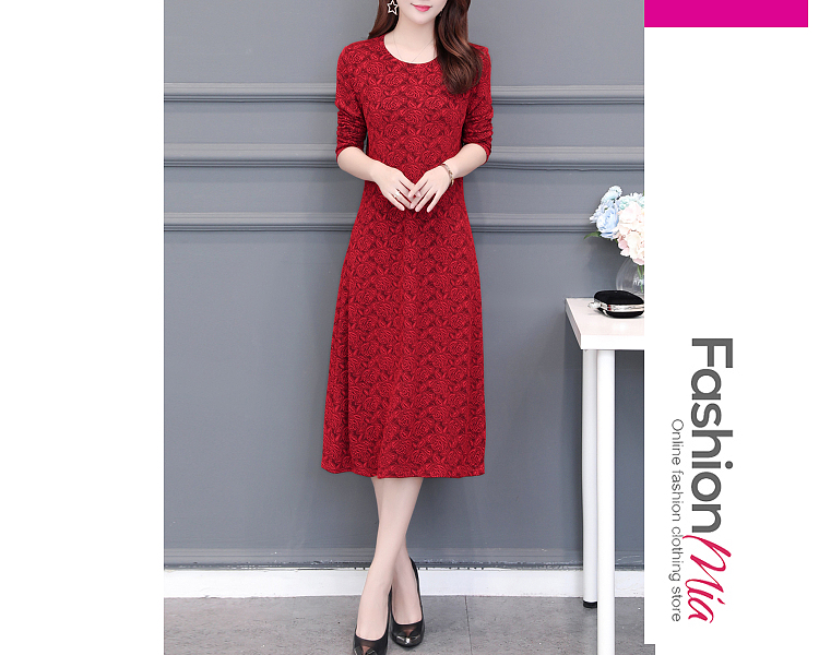 style:fashion, material:lace, collar&neckline:round neck, sleeve:long sleeve, pattern_type:lace, length:calf-length, how_to_wash:cold gentle machine wash, supplementary_matters:all dimensions are measured manually with a deviation of 2 to 4cm., occasion:casual, season:autumn,winter, dress_silhouette:empire line, package_included:dress*1, lengthshouldersleeve lengthbust