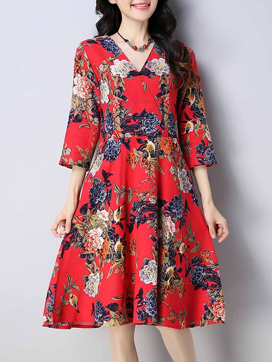 V-Neck  Slit Pocket  Floral Tribal Printed Skater Dress