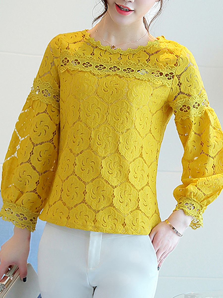 Lace Hollow Out Plain Long Sleeve T-Shirt