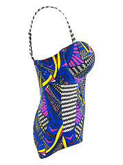 Spaghetti Strap Colorful Printed One Piece