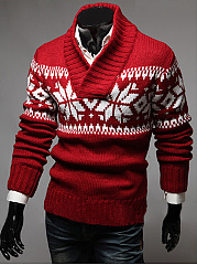 V-Neck Snowflake Men Sweater