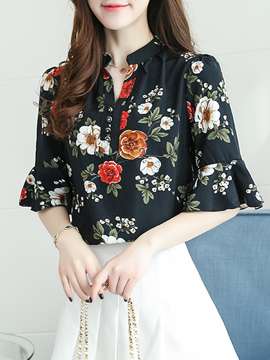 Split Neck Floral Printed Bell Sleeve T-Shirt