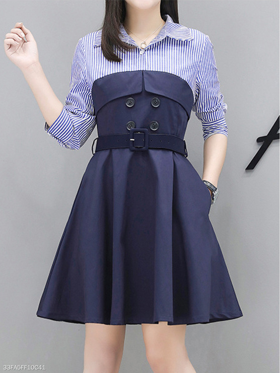 Turn Down Collar  Decorative Button  Striped Skater Dress