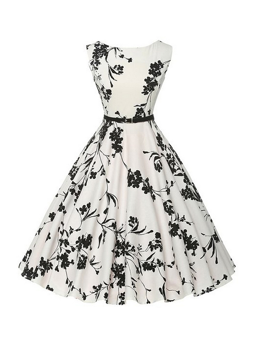 Black White Boat Neck Floral Printed Plus Size Flared Dress