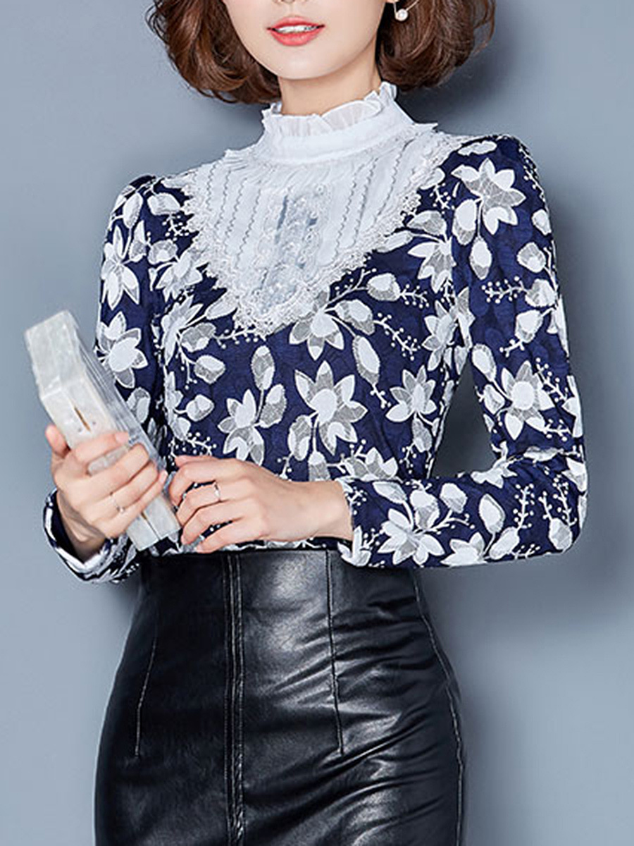 Band Collar  Floral Printed Blouse