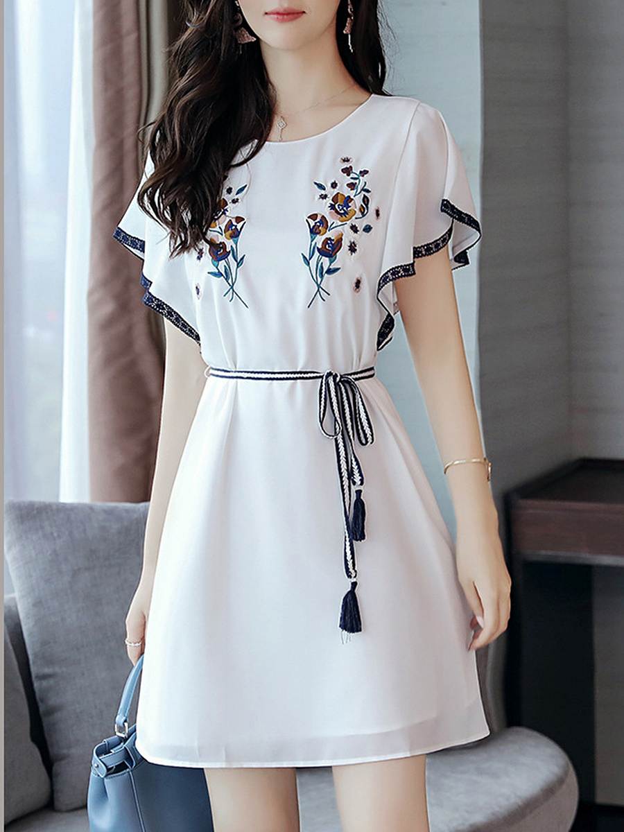 Round Neck Embroidery Bowknot Chiffon Skater Dress