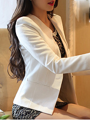Single Button  Plain  Long Sleeve Blazers