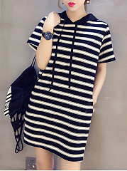 Hooded  Drawstring  Color Block Shift Dress