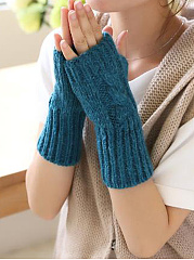 Winter Thick Warm Short Plain Knitted Gloves