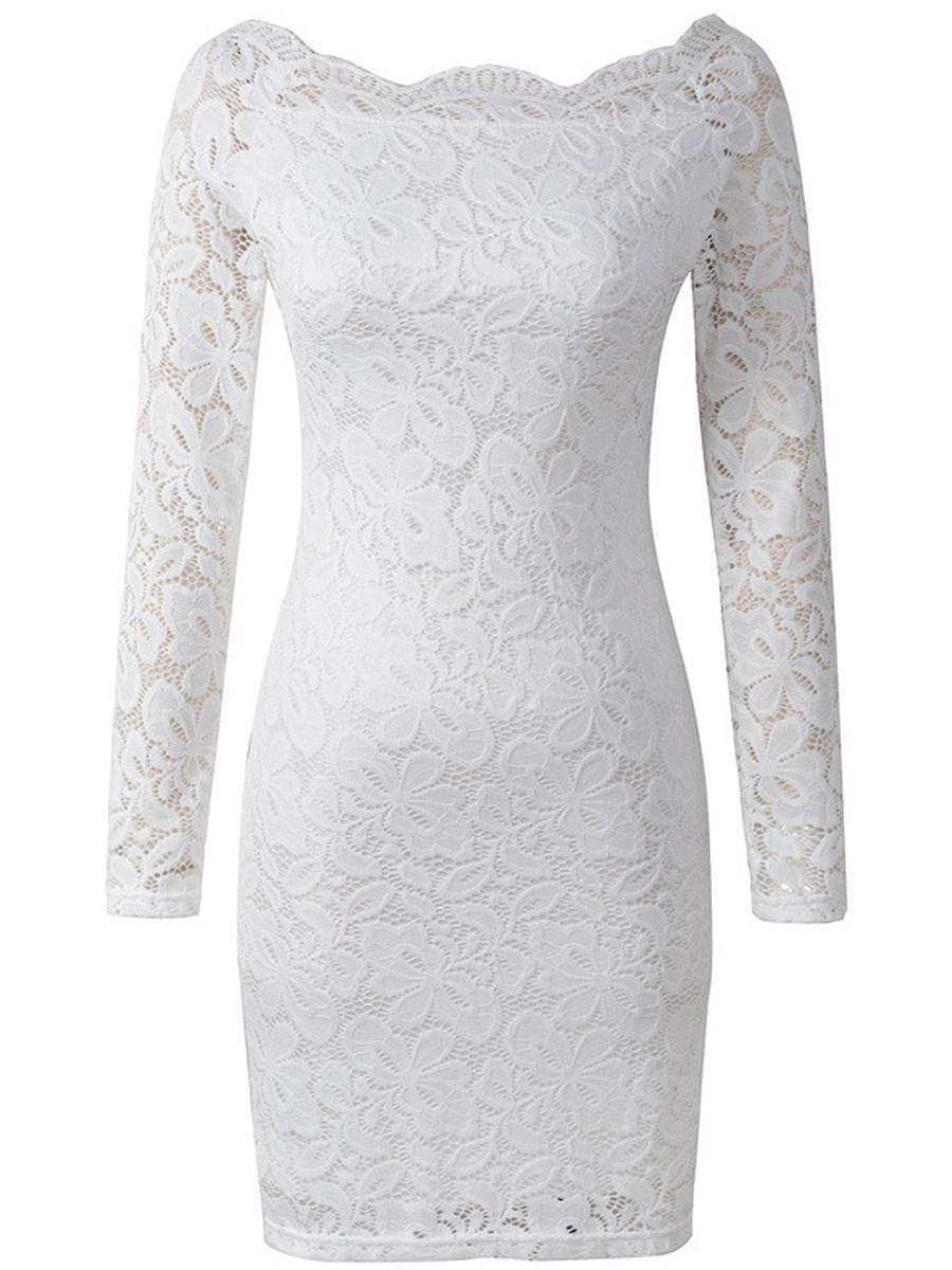 Off Shoulder Hollow Out Plain Lace Bodycon Dress. Off ...
