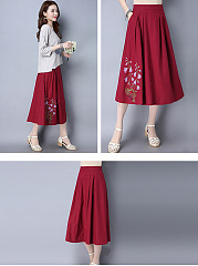 Cutout  Bust Darts  Brocade Embroidery  Flared Maxi Skirts