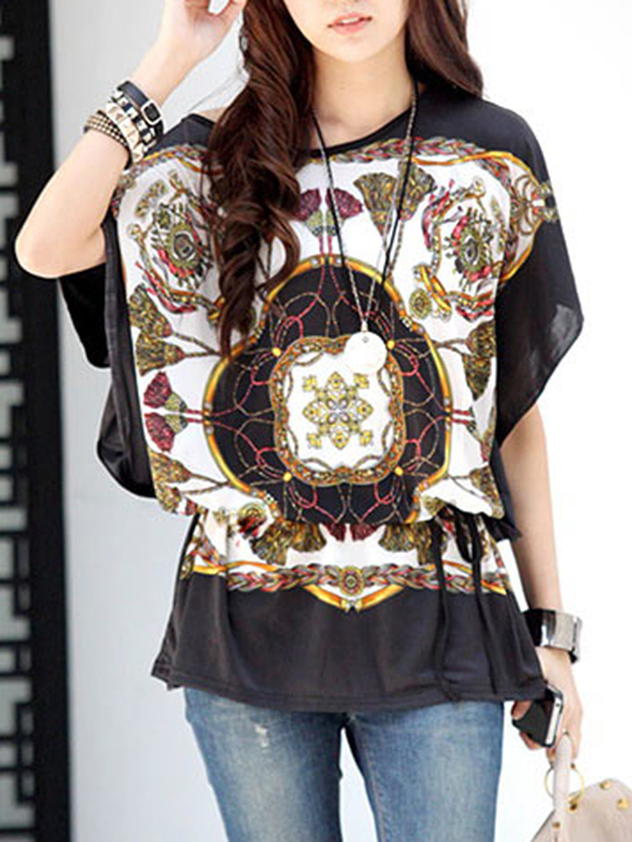 Loose Round Neck Printed Tunic