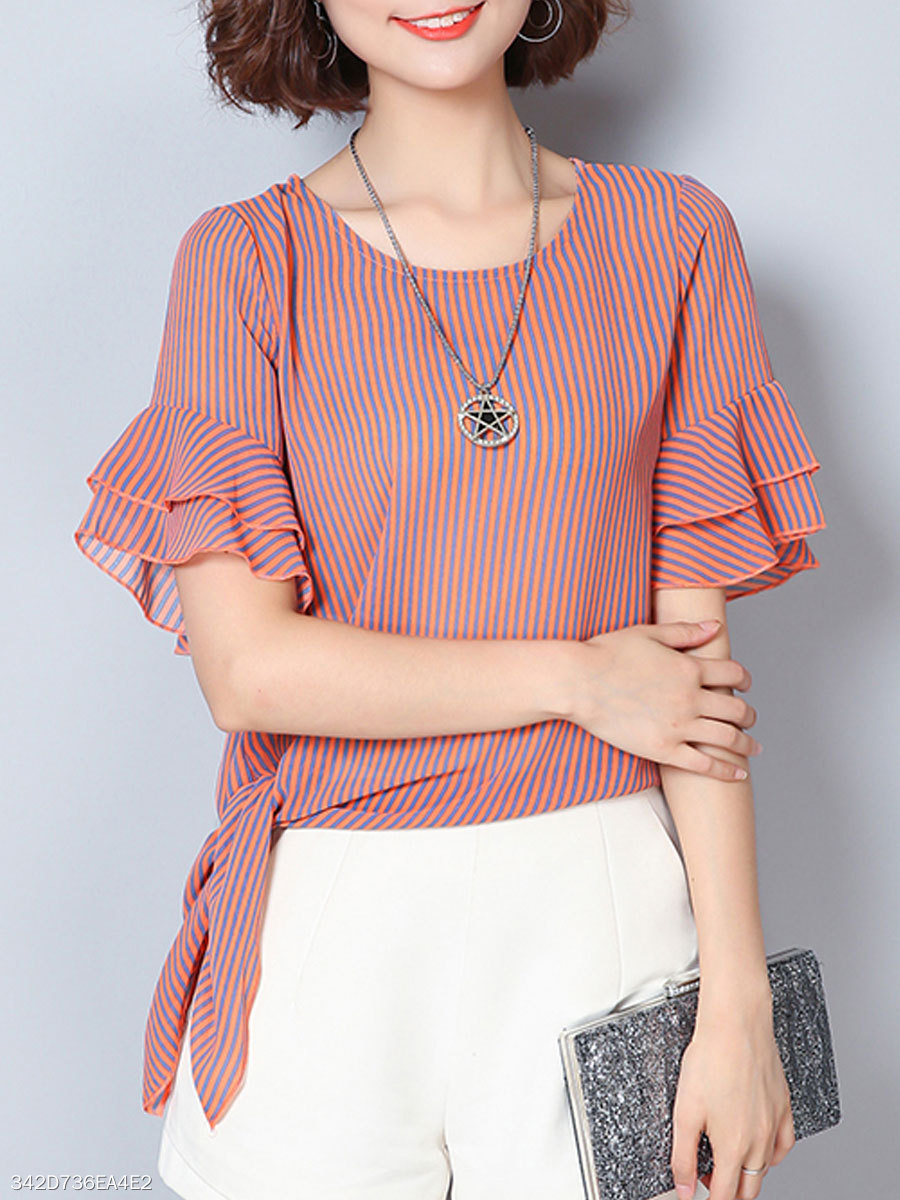 Summer  Polyester  Women  Round Neck  Bowknot  Striped  Bell Sleeve  Short Sleeve Blouses