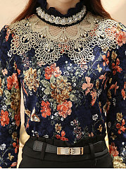 Band Collar  Beading Lace Floral Hollow Out Blouse