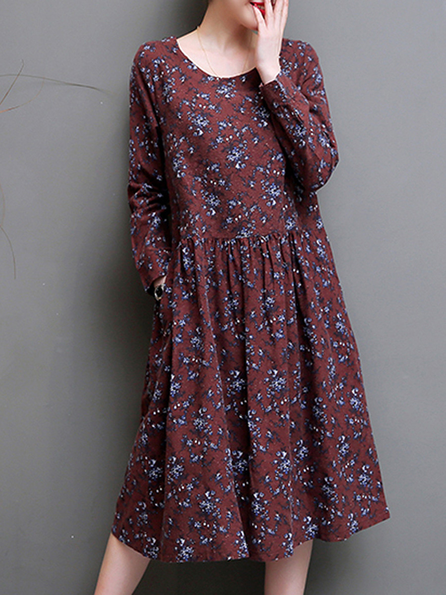 Round Neck  Slit Pocket  Floral Printed  Cotton/Linen Maxi Dress