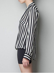 Autumn Spring  Chiffon  Women  V-Neck  Striped  Long Sleeve Blouses