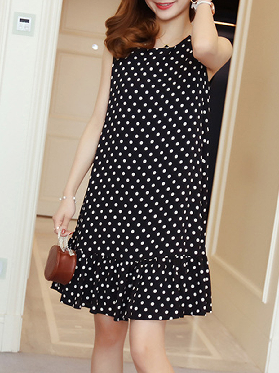 Round Neck  Bowknot  Printed Shift Dress