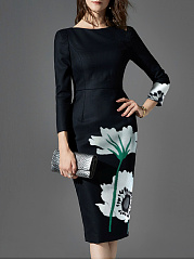 Word Collar  Floral Printed Bodycon Dress