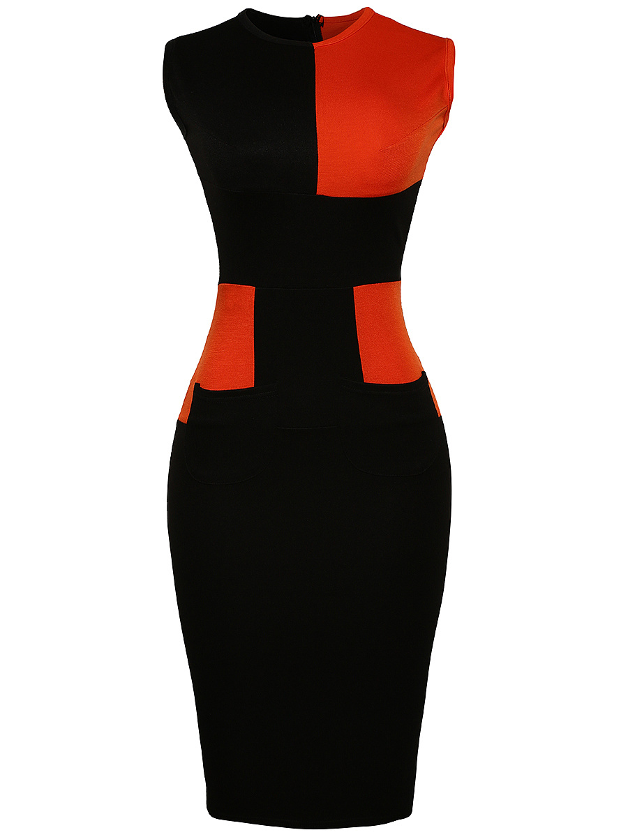 Color Block Crew Neck Slit Midi Bodycon Dress
