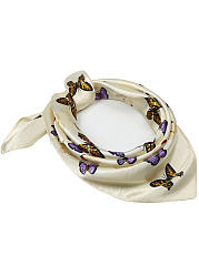 Butterfly Printed Silk Squared Scarf