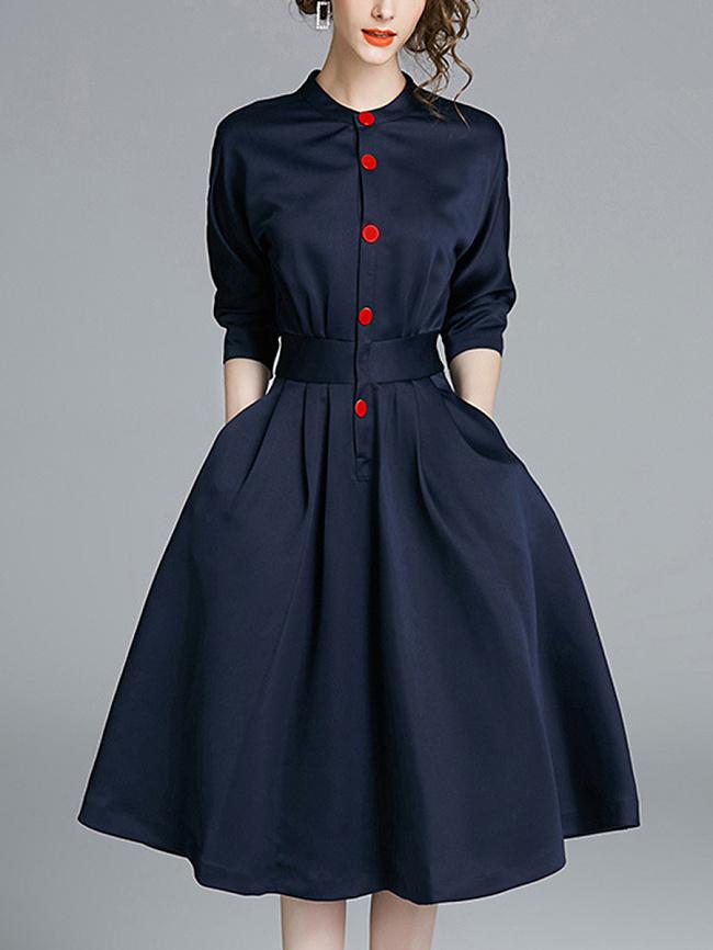 Image of Fashionmia Band Collar Pocket Plain Midi Skater Dress