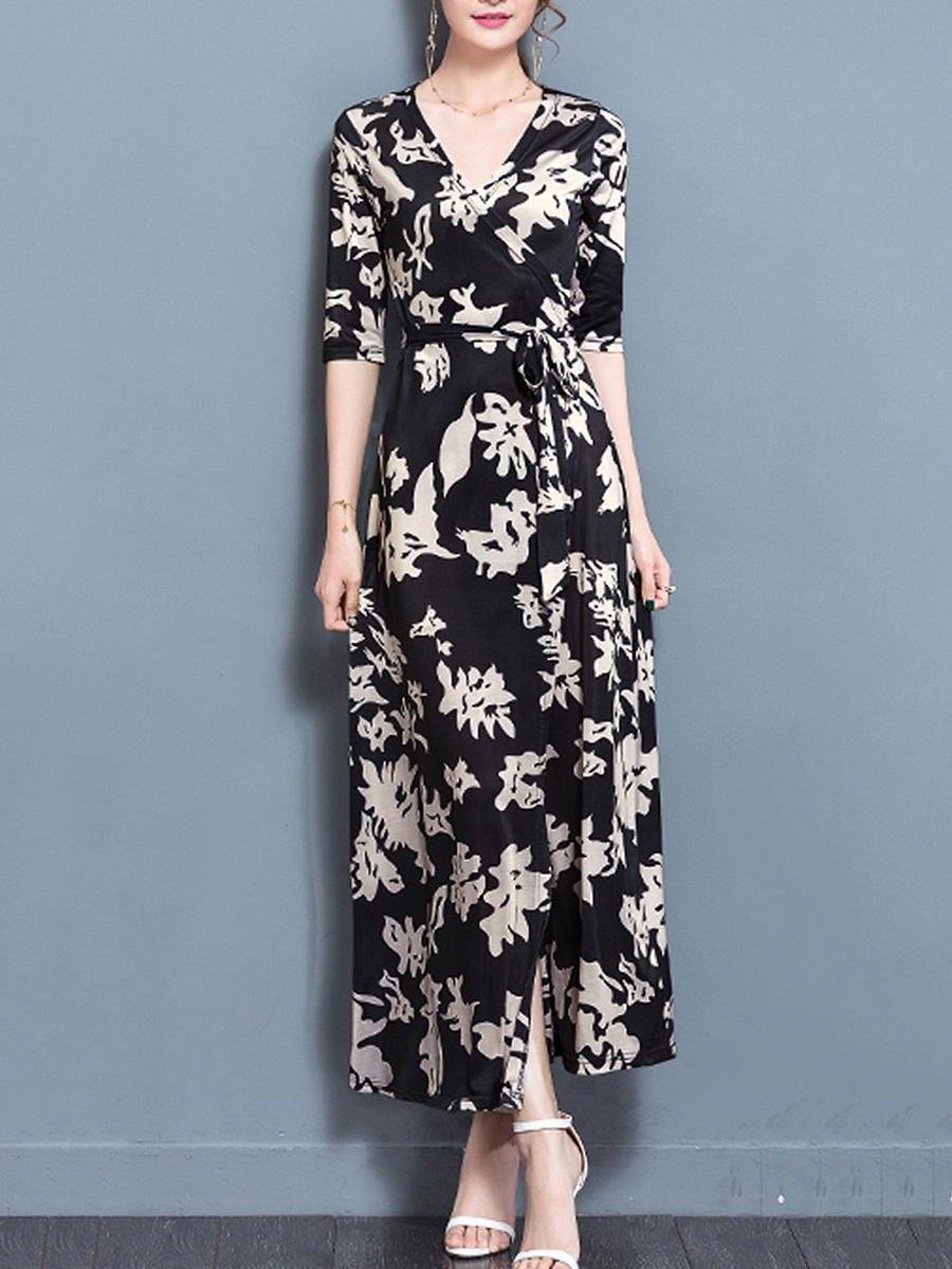 V-Neck Printed High Slit Half Sleeve Maxi Dress