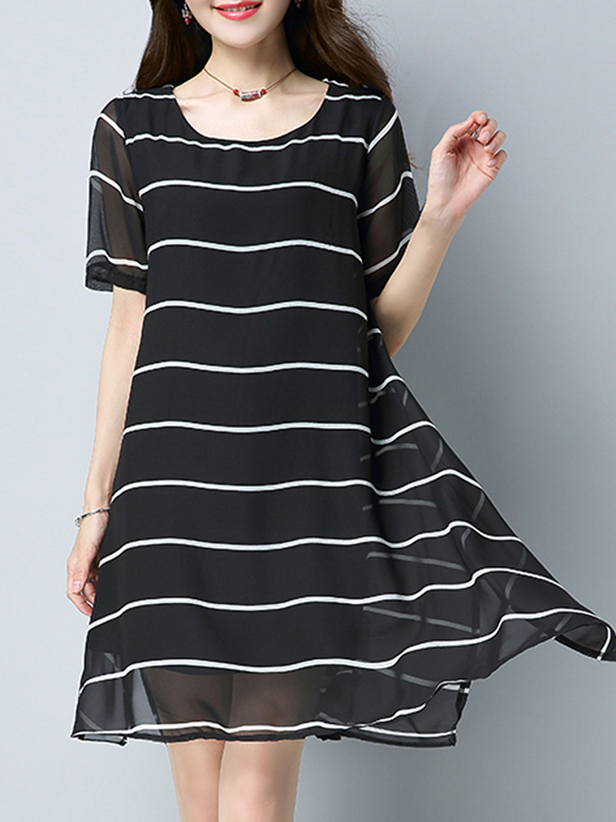 Summer Fashion Round Neck Printed Shift Dress