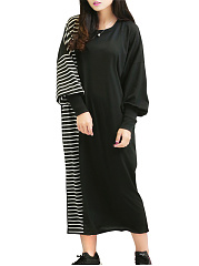 Round Neck  Patchwork  Striped Plus Size Midi  Maxi Dresses