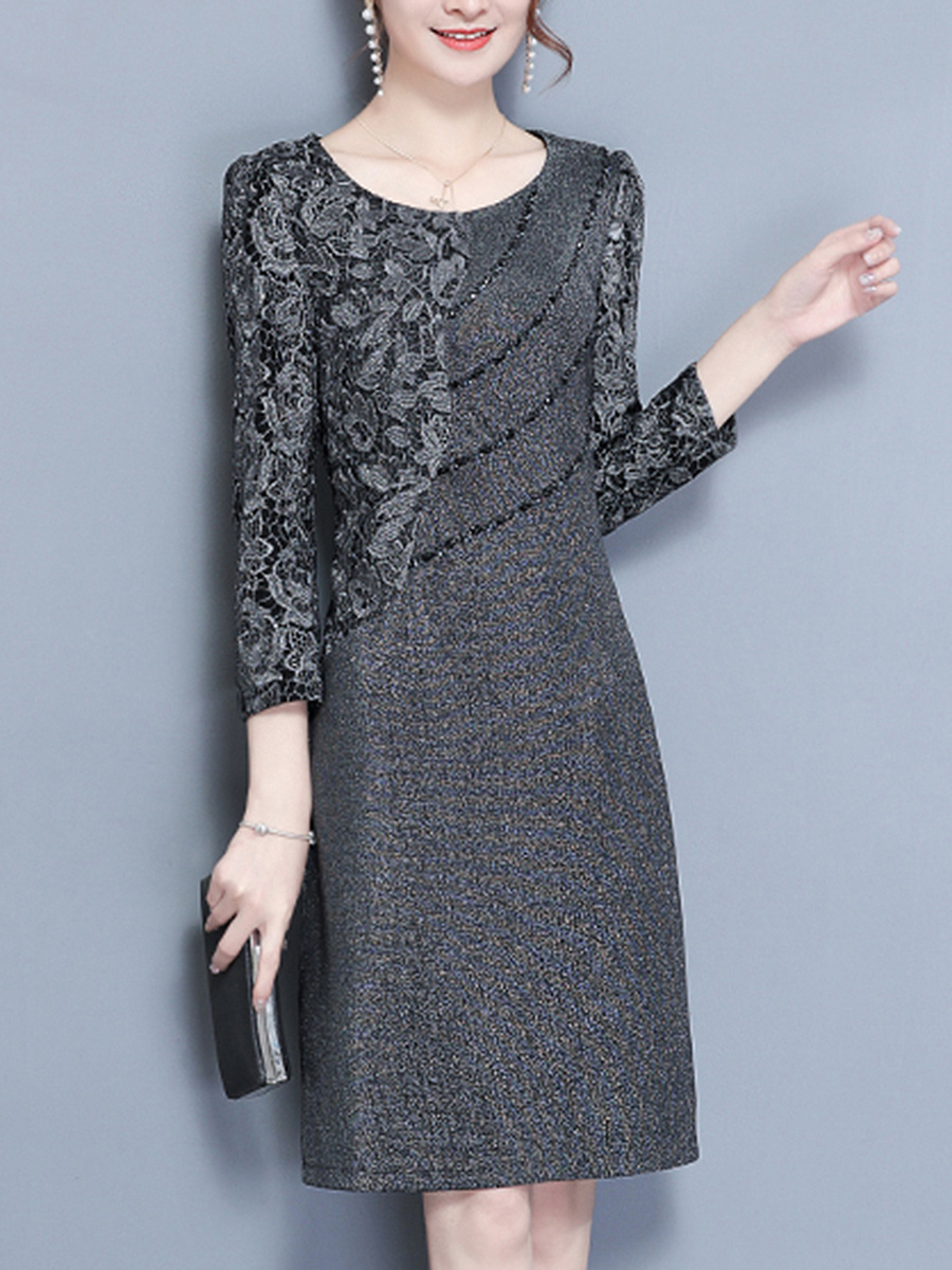 Round Neck Beading Decorative Lace Plain Bodycon Dress