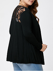 Solid Patchwork See-Through Plus Size Cardigan