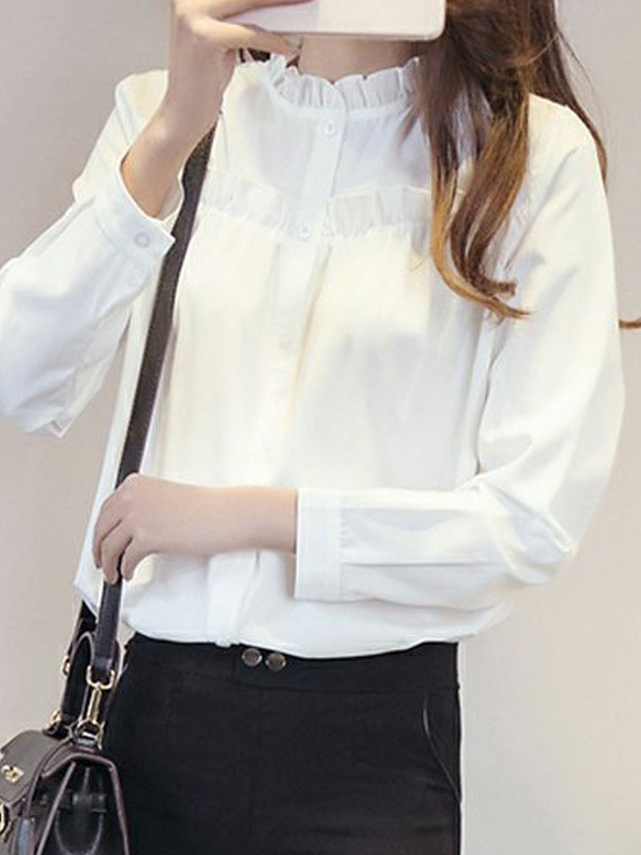 Autumn Spring  Cotton  Women  High Neck  Flounce Single Breasted  Plain  Long Sleeve Blouses