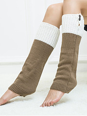 Color Block Knitting Boots Long Stocking Long Leg Warmers