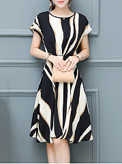 Color Block Asymmetric Stripe Round Neck Skater Dress