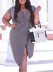 Split Neck  Asymmetric Hem Ruched  Plain Plus Size Bodycon Dress